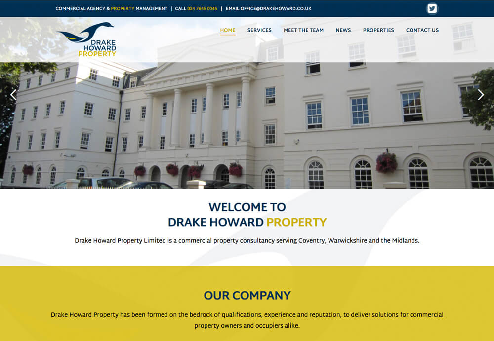 Web design for drake howard who a re commercial property lettings and management company