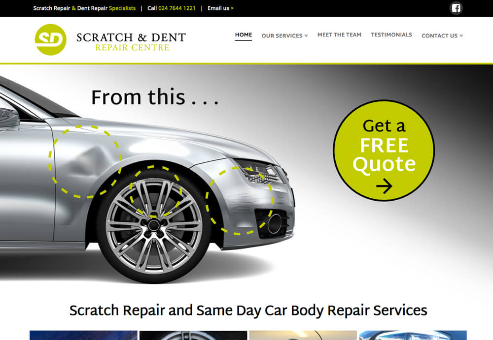 web design for the scratch and dent repair centre in coventry