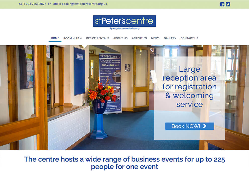 Responsive web design for St Peters Centre in Coventry