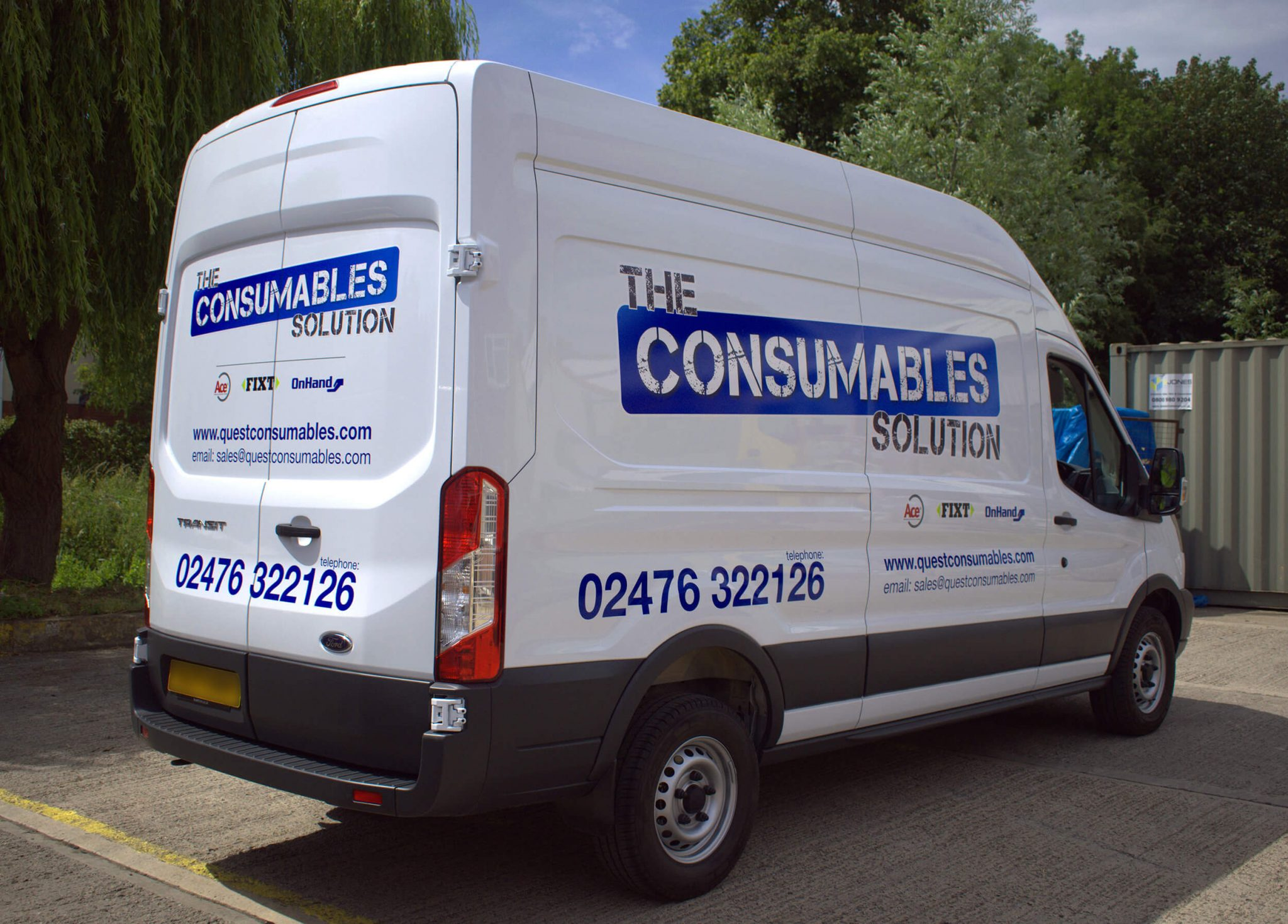 The Consumables Solution Van Graphics Drivers Side and Rear