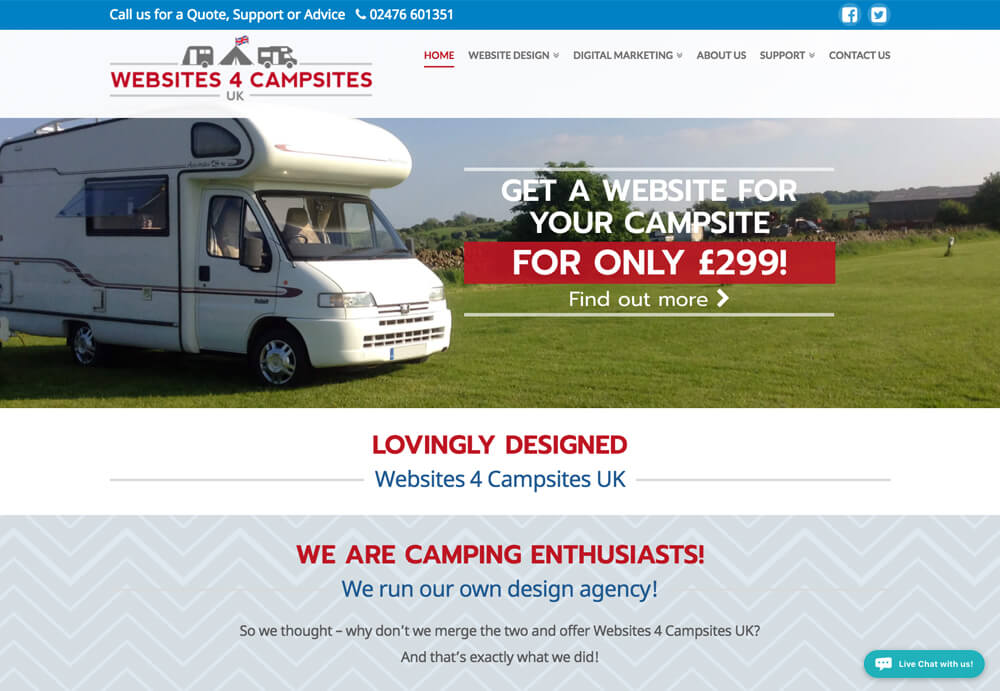 web design coventry for Websites 4 Campsites UK Website